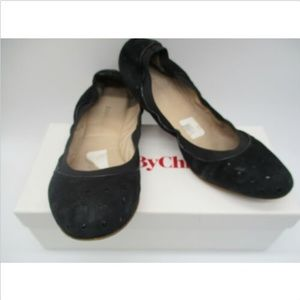 SEE BY CHLOE BLACK SUEDE STAR CUT OUT FLATS SZ 40